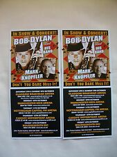 BOB DYLAN & MARK KNOPFLER... Live in Concert 2011 UK Tour. Promo tour flyers x 2