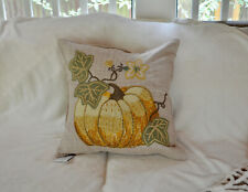 """New Pottery Barn Pumpkin Applique Plaid 18"""" Pillow Cover Fall Autumn ~ Sold Out"""