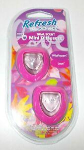 REFRESH Your Car! LDual Scent Mini Diffusers WILDFLOWERS & LOVE NIP