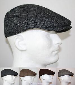 CLASSIC WOOL HERRINGBONE FLAT DRIVER IVY GOLF HATS GATSBY CAP - BROWN GRAY BLACK