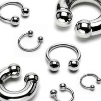 Surgical Steel Horseshoe Circular Barbell with Ball Septum Nipple Cartilage Ring