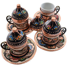 Set of 4 -Handmade Copper Turkish Greek Arabic Coffee Espresso Cup Saucer Gawa