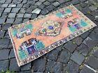 Turkish small rug, Handmade wool rug, Vintage rug, Doormat | 1,6 x 3,0 ft