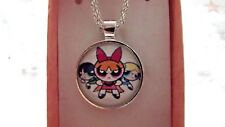 POWER PUFF GIRLS PHOTO SILVER PLATE CHAIN 20INC NECKLACE GIFT BOX BIRTHDAY PARTY