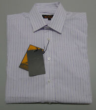 Ben Sherman WESTMINSTER Size 38 White Purple Striped Long Sleeve Tailored Shirt