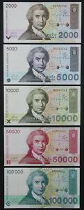 Croatia SET 5 notes 2000-100000 HRVATSKIH DINARA 1992-1993 P 23 24 25 26 27 UNC