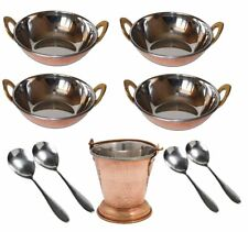 9 Pcs Set Stainless Steel Dinner Serving Balti|Ladle|Copper Bottom Mini Wok Kada