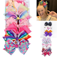 JOJO SIWA 6 Pcs/Set Rainbow Printed Knot Ribbon Bow Hair Chip For Kids Girls U7