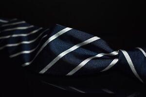 Polo Ralph Lauren Hand Made Italy Navy Rib Twill Silver Single Stripe Silk Tie