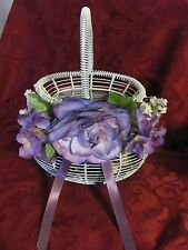 Vintage white metal wire basket purple wisteria lilac white flowers