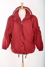 BOGNER Womens Ski Jacket Sz M 6 Lipstick Red Embroidered Fullzip Hooded Coat