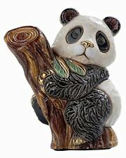 More details for de rosa baby panda on tree figurine   new in gift box