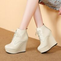 Women Fashion Platform Round Toe Leather Lace up Wedge Heels Ankle Boots Shoes