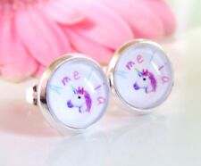 Unicorn Emoji Personalised Name Pink Pastel Rainbow Kids Adults Stud Earrings