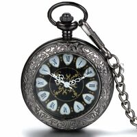 Stylish Retro Carving Roman Dial Wind Up Mechanical Pocket Watch Pendant Chain