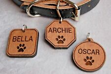 Round Wood Dog Tag, Personalised Dog ID Tag, Any Pets Name, Your Address Wooden