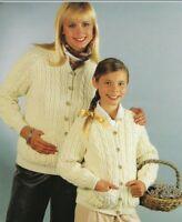 "Ladies Girls Aran Cardigans Crew Neck Knitting Pattern and pockets 24-36"" 1165"