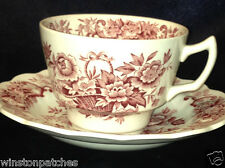 RIDGWAY ENGLAND OLD ENGLISH BOUQUET CUP & SAUCER 8 OZ RED FLOWERS & BASKET