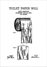TOILET PAPER ROLL VINTAGE PATENT  POSTER A4 High Quality Print Sign