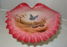 Vintage Art Glass HP Church Scene Butterfly Peach Blown Candy Dish Bowl