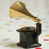 1PC Miniature Vintage Phonograph Record Player Alloy For 1:12 Dollhouse T Gift