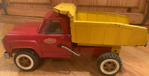 Tonka Dump Truck 1960's Red and Yellow pressed steel Collectible Classic Truck
