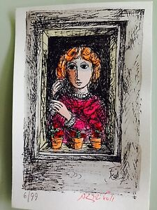 """Yosl Bergner -""""The Window"""" a Rare hand colored limited edition print.Unframed"""