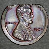 1939 Lincoln Wheat Cent 1C - Gem Unc - ERROR Straight Clip, Broadstrike - Toning