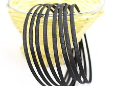 8 Black Satin Riddon Wrapped Metal Headbands 5mm Hair Bands