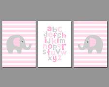 3 Wall Art Nursery Prints Baby Girl Elephants Stripes Alphabet Pink and Grey
