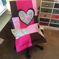 Baby Quilt Set For Girl Handmade By Jw , Hot Pink, Lt Pink, Brown , Blue / Green