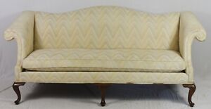 Drexel Mahogany Queen Anne Sofa with Flame Stitch Fabric Williamsburg Style