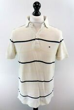 TOMMY HILFIGER Mens Polo Shirt M Medium White Blue Yellow Stripes Cotton