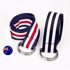 Adult Unisex Women Man Junior Canvas Stripe Ring buckle Casual sports Long belt
