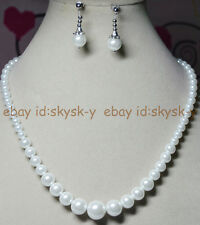 """New 6-14MM White South Sea Shell Pearl Round Beads Necklace Earrings Set 18"""" AAA"""