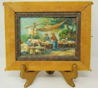 "Vintage Oil Painting Impressionist Outdoor Scene, 5"" x 7"" Signed, Oil on Board"
