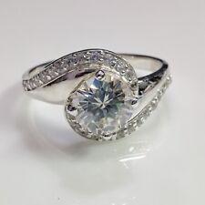 925 Sterling Silver Ring Size 9 6.8mm Near White Brilliant Moissanite Engagement