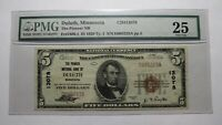 $5 1929 Duluth Minnesota MN National Currency Bank Note Bill! #13078 VF25 PMG