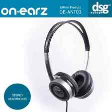 GENUINE ON-EARZ STEREO HEADPHONES OE-ANT03 BLACK CHROME LIGHTWEIGHT ANTI.DOT