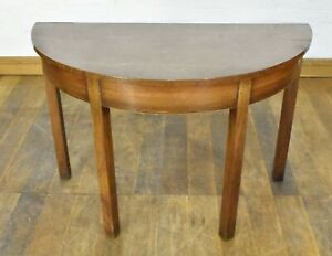 Antique mahogany D end console table / half moon hall table