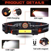 COB LED headlamp USB rechargeable Headlight head light Torch Flashlight 18650 Z