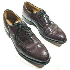 Johnston & Murphy Mens 9.5 Wide *Ortho Shoe Riser* Burgundy Wingtips Shoes