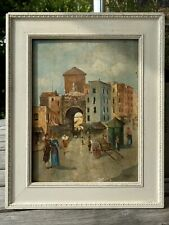 More details for italian impressionist oil painting by g miraglia old naples market dated 1903