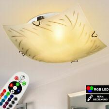 RGB LED Decken Leuchte Fernbedienung Wohn Zimmer Lampe Dimmer Glas Muster Sonne
