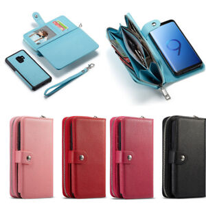 Removable Magnetic Zipper Leather Wallet Case Cover For Samsung Galaxy S9/S9Plus