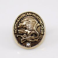 14K Yellow Gold Plated North American Hunting Club Clear CZ Lapel Pin Tie Tack