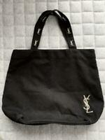 Yves Saint Laurent canvas tote bag Black x pink Women's Bags Gold embroidery