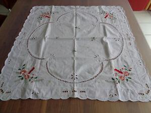 Weihnachtsdecke Tisch Decke Weihnachten 75 x 75 cm weiß Stickerei