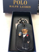 NIB Polo Ralph Lauren Key Fob Ring Polo Bear Black Leather Bottle Opener Tuxedo