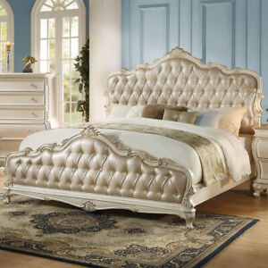 Chantelle Queen Bed in Rose Gold PU & Pearl White